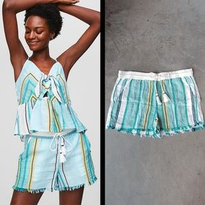 LOFT Beach Green Striped Frayed Drawstring Shorts